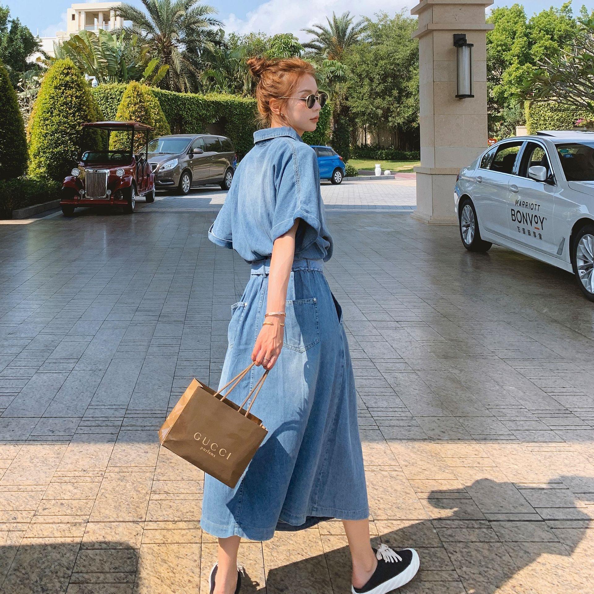 StoUd Kadın Orta uzunlukta etek 2020 Yaz yeni Kore tarzı gevşek Uzun kot elbise bel aşırı diz zayıflama Fransız kot etek IyyWo