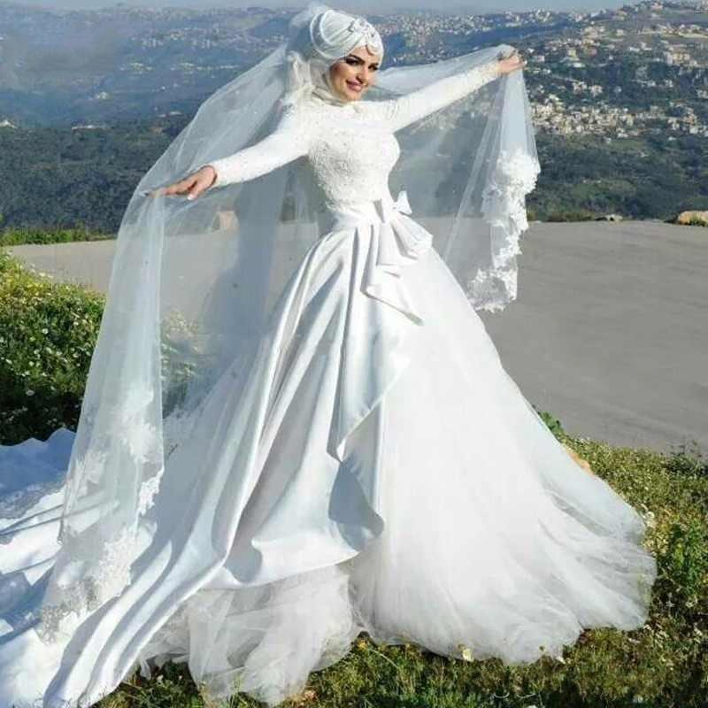Elegant Muslim Long Sleeve Wedding Dresses High Collar Overskirt Bridal Gowns Long Train Bow Peplum Arabic Islamic Vestidos De Noiva L34