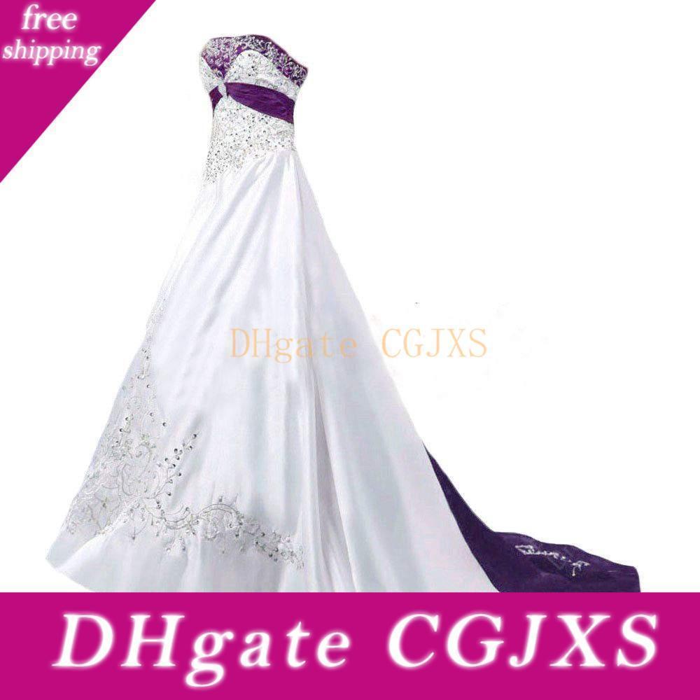 Bianco e viola abiti da sposa d'epoca 2019 senza spalline Lace-Up merletto in rilievo ricamo sweep treno del corsetto Plus Size abito da sposa