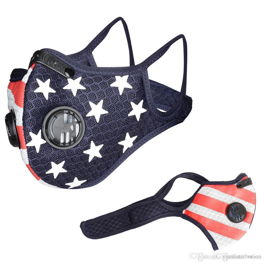 Велоспортная маска для лица Спорт на открытом воздухе MASKS MASKS PM2.5 Анти-пыль Загрязнение Защитная маска для защиты Запуск Активированный углеродный фильтр Моющаяся маска Новый