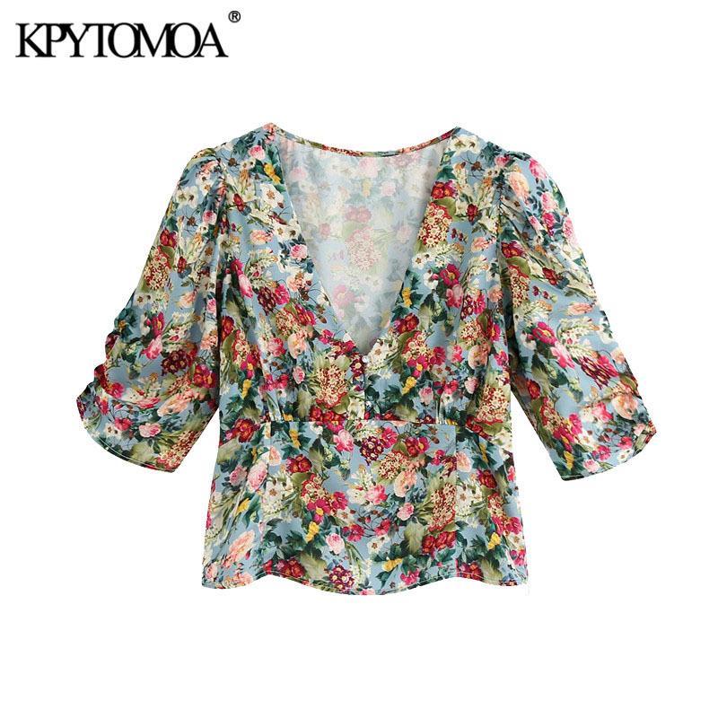 KPYTOMOA donne 2020 di moda stampa floreale ritagliata camicette Vintage scollo a V lato corto manica cerniera femminile Camicie Blusas Chic Tops Y200824