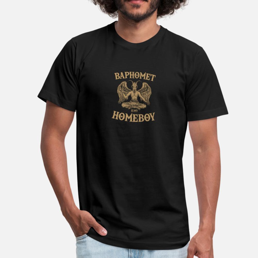 Baphomet é meu homeboy Satanic satanismo Lucifer Camiseta Homens Designs 100% algodão em torno do pescoço Outfit Sunlight engraçado Padrão Primavera Casual