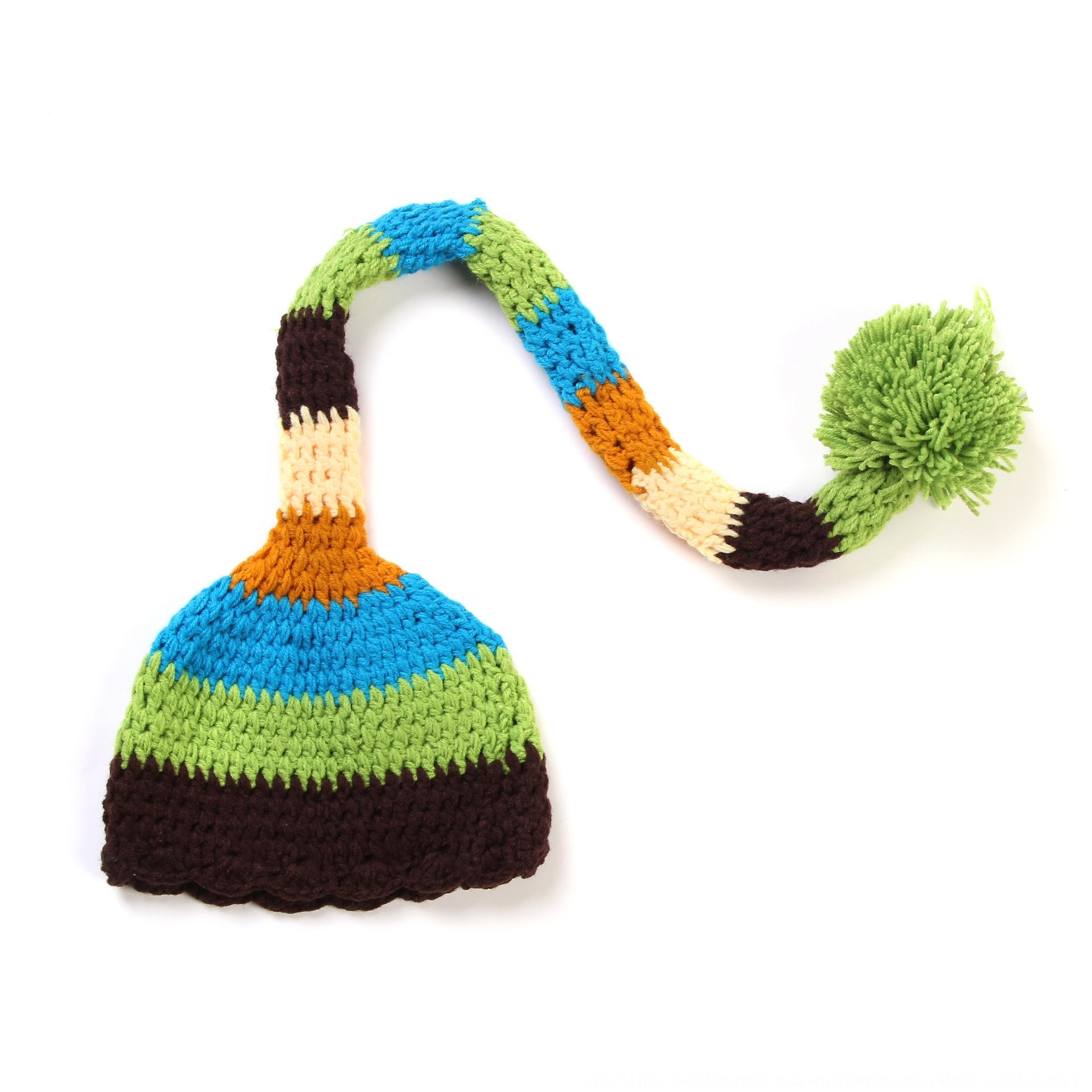New handmade photography clothing baby long tail clothing Christmas Christmas hat handmade woven hat foot cover