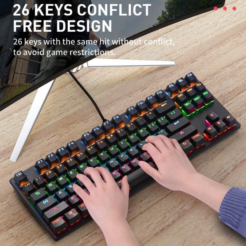 Clavier mécanique filaire LED Gaming Keyboard USB pour jeu PC portable