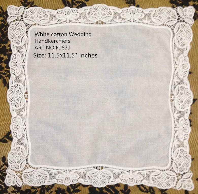 """60PCS / Lot Fashion Damen Handkerchief 11.5 """"X11.5"""" White Cotton Hochzeit Taschentücher gestickte Vingate Spitze Kanten Hankies Hanky für Braut"""