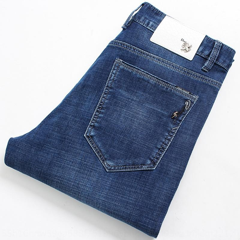 KXdHX blauen Sommerlicht ultradünne High-Stretch-Hosen Jeans und Jeans Männer Junge Männer nehmen den Sitz gerade Hosen