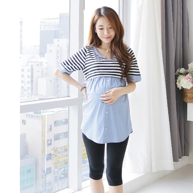 8178 # Sommer-dünne Streifen Patchwork Still-Blusen Krawatten Taillen-dünne Stillen Hemd für schwangere Frauen Schwangerschafts-Top
