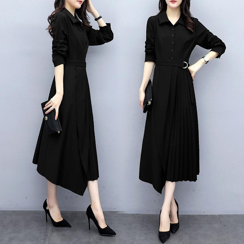 j7CuV mVtxy Größe der Frauen neues Kleid Kleid Frauen Herbst Groß 2020 Taille mm mittlere Länge Overknee-Fett für Frauen eleganten Rock Abnehmen