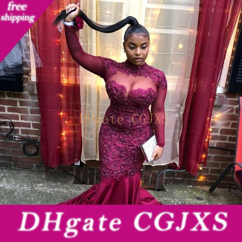 Afrikalı 2k19 Gelinlik Aplikler Yüksek Boyun payetli Artı boyutu Mermaid Abiye Giyim Illusion Uzun Kollu Kadınlar Partisi Elbise vestidos