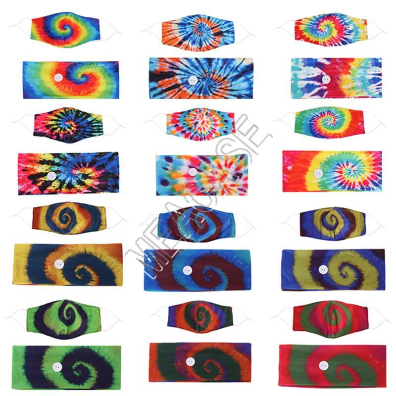 Tie Dye Fashion Face Mask держатель ободки с кнопкой Hairbands лица Маски спиральный узор Маски Женщины Эластичные ленты для волос аксессуары D81808