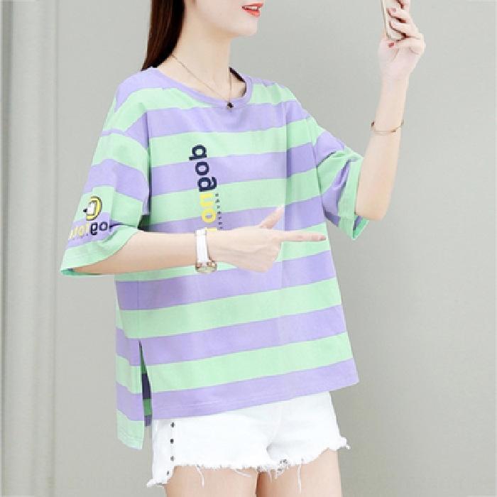 BekLz AMCd6 2020 çizgili yaz yarım kollu çift kadın giyim yeni süper internet popüler popüler kısa kollu külot ins tişört