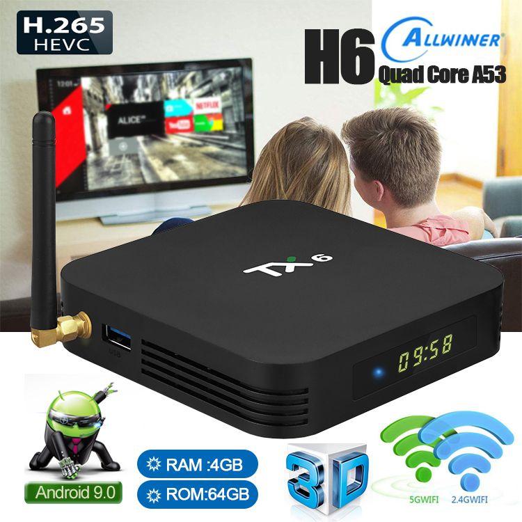 1 pezzo ! Android 9.0 TV Box 2GB / 4GB + 16GB / 32GB S905W H6 S905X3 doppio Wifi 2.4G + 5G + BT Smart TV Box PK H96 Max
