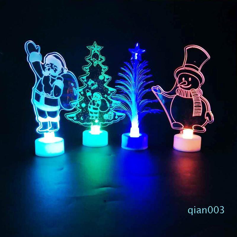 Led Рождество Night Light Мультфильм Акриловые лампы на столе мигающие Ночники для Санта-Клауса Рождественская елка украшения подарков XD21176