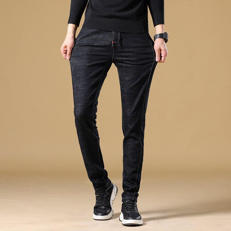Autumn Men's Trousers New Stylish Stretch Slim Fit Pants Youth Casual Solid Color Jeans Waist Drawstring