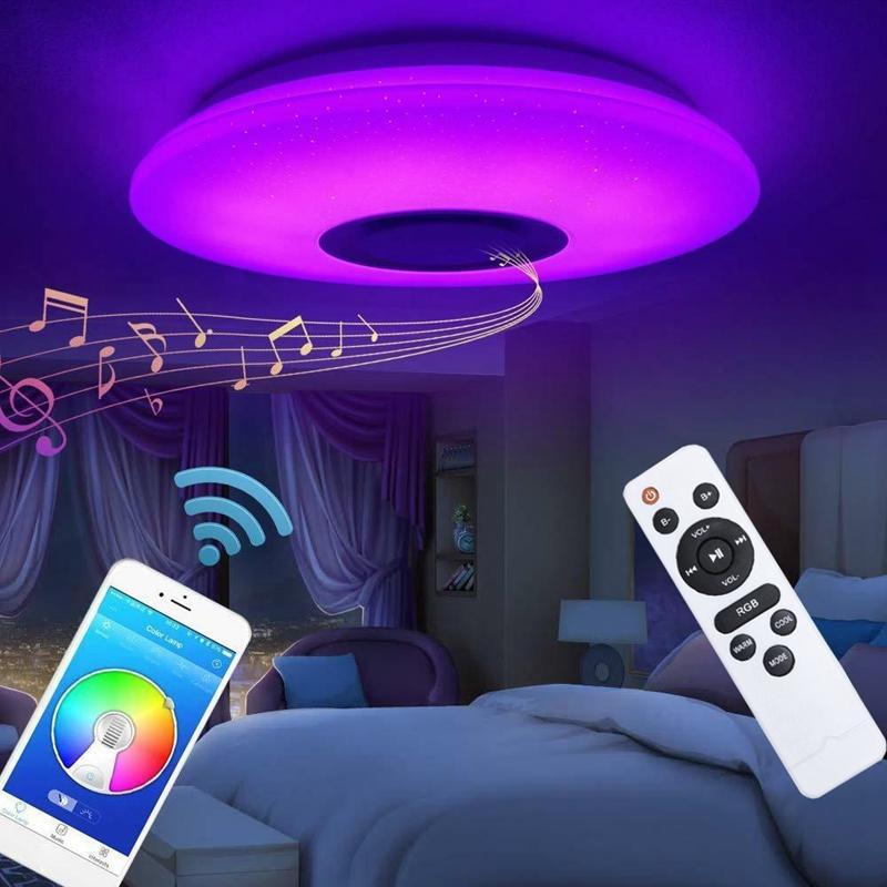 60 Вт RGB утопленный монтаж круговой звездный светодиодный светильник светодиодный светильник, с динамиком Bluetooth, диммируемой цветной лампой