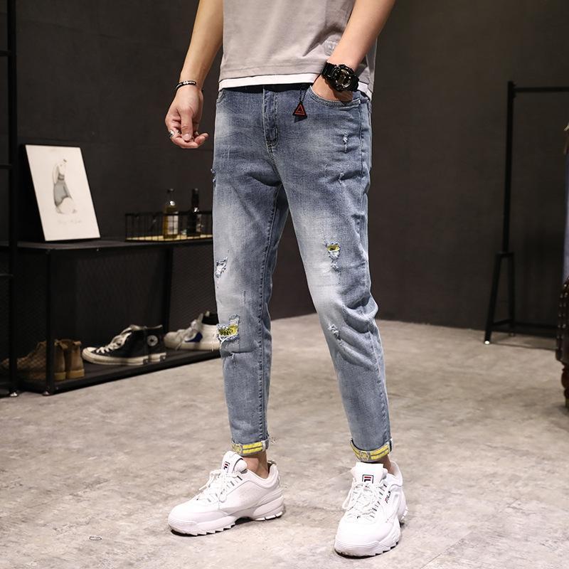 PwvFv aa8RM Девять весны мужского лето новые и девятые 2020 девяти штаны девяти пунктов Jeans поножей пригонки стрейч напечатаны плотной Повседневные девять точек