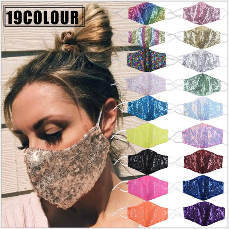 Bling Bling Face Mask 19 Colors Double Layer Summer Breathable Sunscreen Masks Sequins Cycling Mask Washable Face Masks CCA12413 120pcs