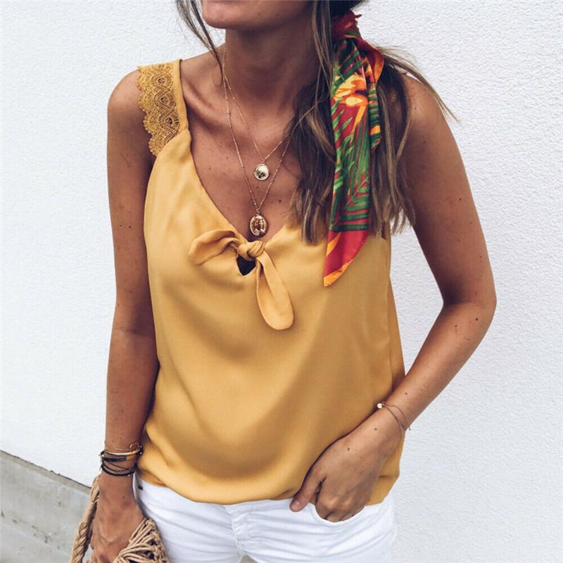 Mode féminine V-Neck Lace Top Gilet sans manches d'été élégant en vrac réservoir debardeur femme réservoir dames T camisa feminina