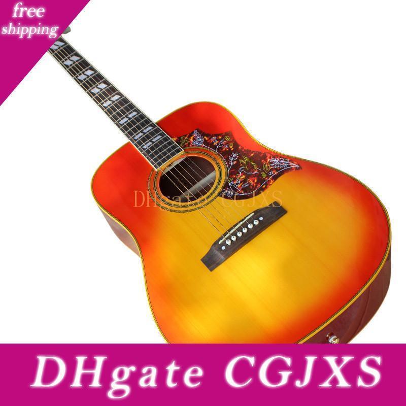 41 İnç Akustik Gitar ile Kemik Nut / Eyer, Renkli Pickguard, Sarı / Beyaz Bağlama, Özelleştirilmiş Olabilir