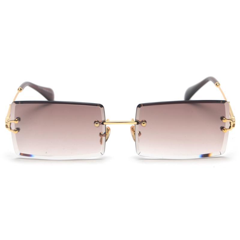 Sonnenbrille Rechteck Damen Frauen 2021 Randlose Quadratische polarisierte Sonnenbrille für Zonnebril Dames Vrouwen Bril