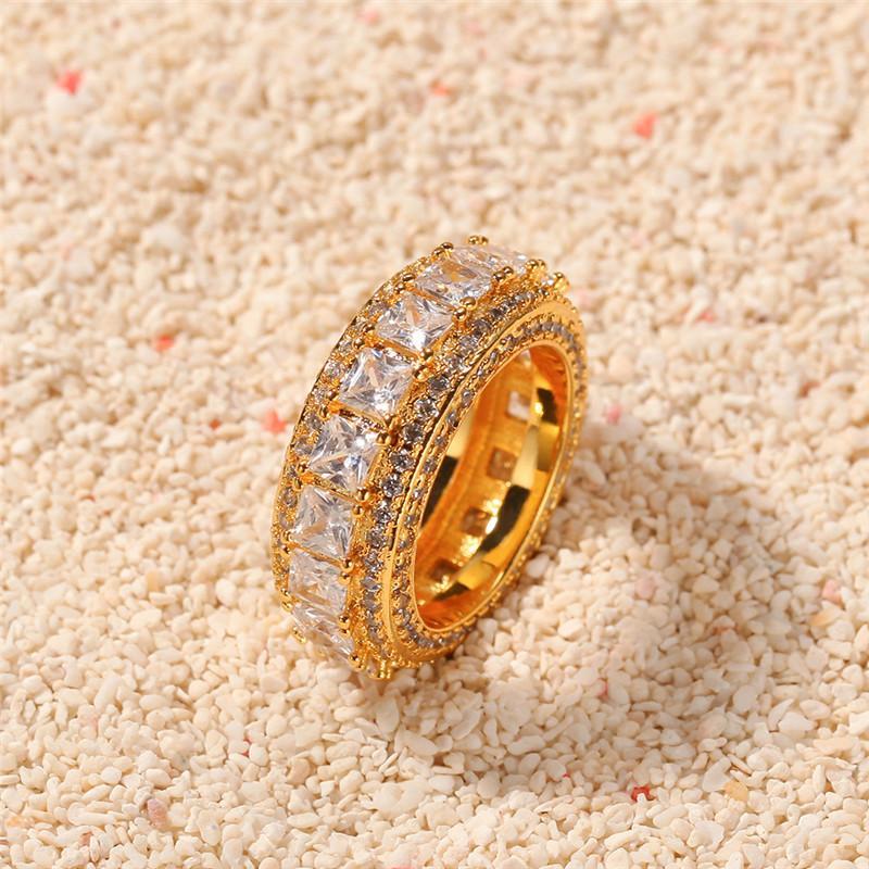 Блестящая Hip Hop Кольца для мужчин тканных CZ Блестящего Кристалл Медь Панка Кольцо Engagement Fine Jewelry родий серебряного цвет подарка