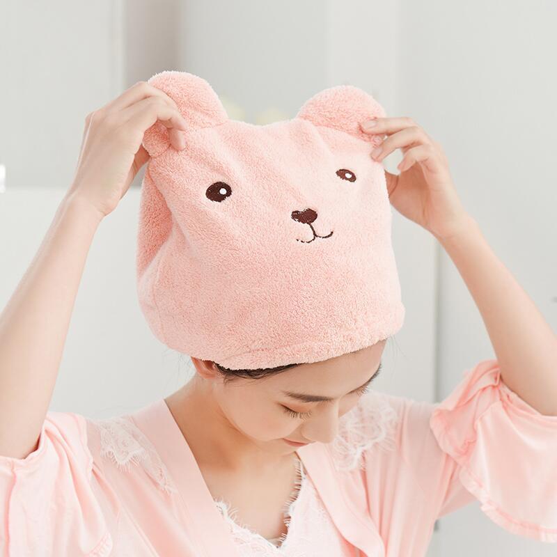 Duche Urso bonito Cap para as Mulheres Cabelo banho envolvido toalhas de microfibra Shower Chapéus Bath Caps rapidamente seco Cabelo Cap Acessórios