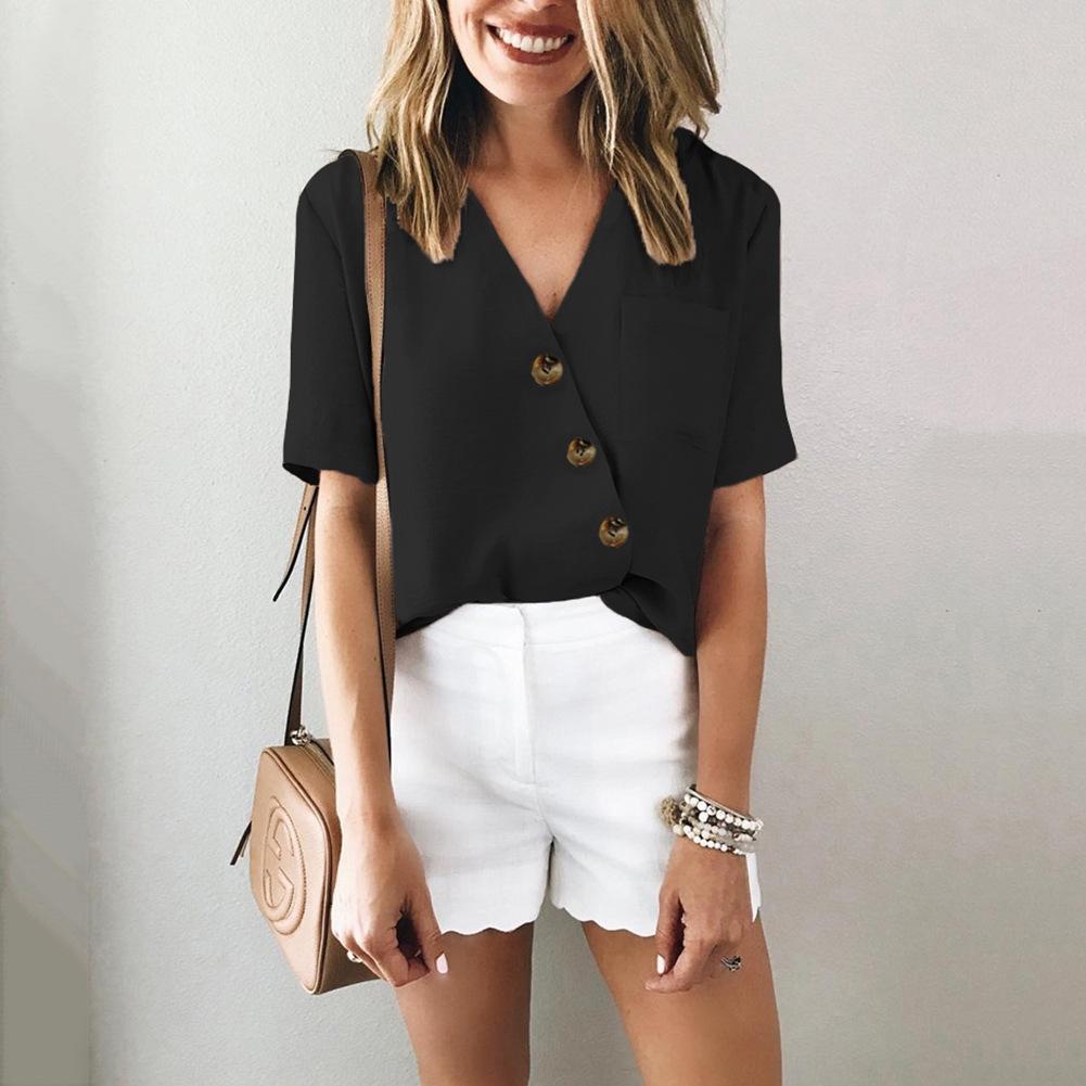 la primavera y el verano de moda camisa de botones de bolsillo V-cuello ayK2R camisa de botones de manga corta blusa 2020 600251