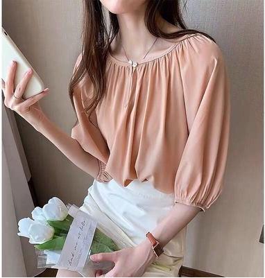FhG8M 6q5HZ Bubble рукав шифона для женщин 2020 Летний топ дизайн новый Top чувство нишу нежный стиль рубашки свободный V-образным вырезом рубашки моды