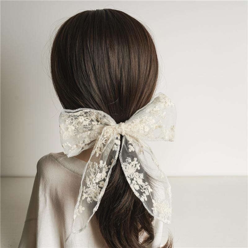 Summer Black White Lace Bow Knotted Hairgrips Hairpin Scrunchies Barrettes Duckbill Hair Clip Women Hair Accessories