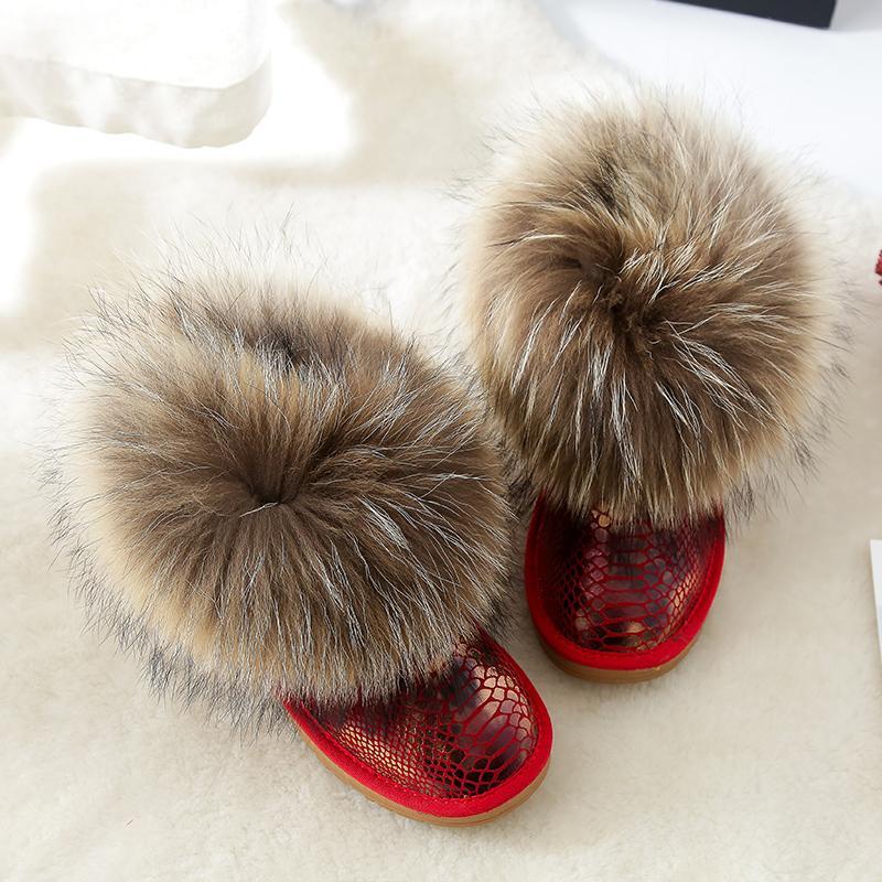 Mode femme Bottes Véritable Bottes fourrure d'hiver Real Big Chaussures en cuir chaud Casual cheville Taille Plus Femme Neige