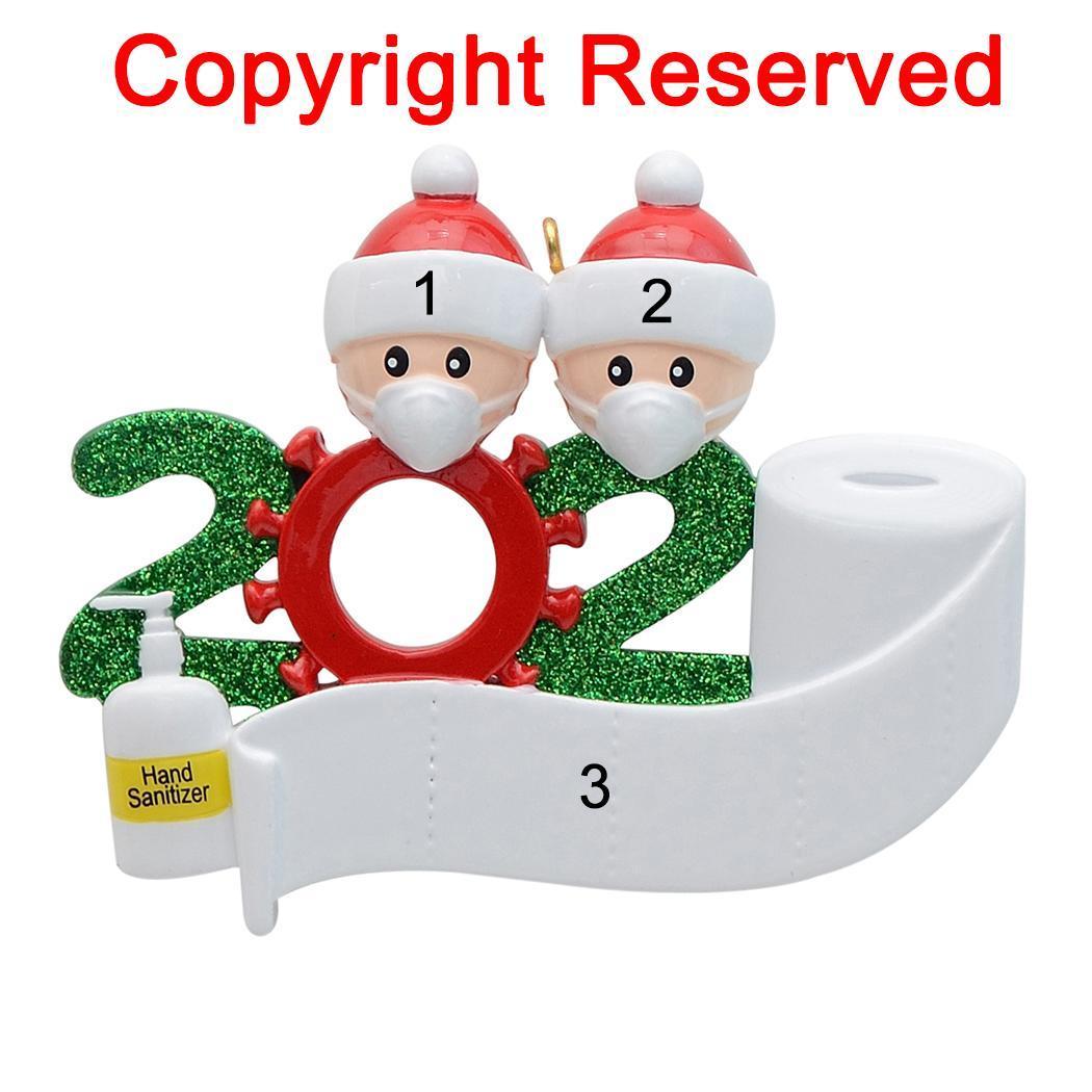 Colgando de cuarentena Partido Cumpleaños de Navidad regalo de la decoración del producto ornamento personalizado, pandemia -Social distanciamiento-Familia de 2