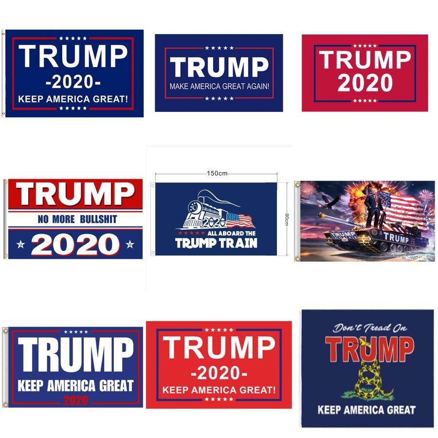 Trump Laard 2020 Partido colgante insignia llaveros Llavero de la bandera americana TRIUNFO correa para el cuello Laard Moble regalo Teléfono Laards GGA3251-2 # 917