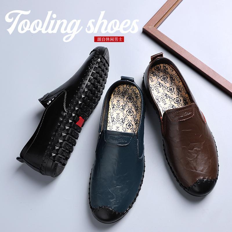 Gerçek Deri Bezelye Ayakkabı Erkek loafer'lar Büyük Beden Erkek Ayakkabı Günlük Erkek Ayakkabı Moda Deri Sınır Ötesi Yabancı Trad Amazon