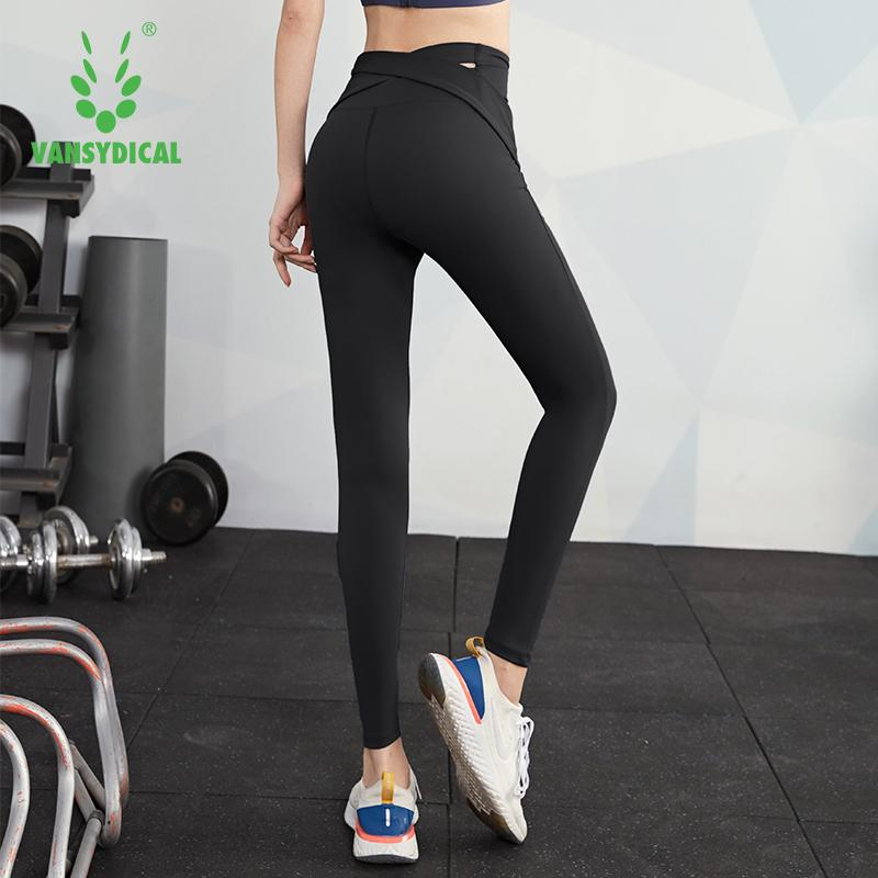 VANSYDICAL Yoga Hose Women Solide High Waist Gym Legging Hip Lifting Tights outwork Hosen Kompression Sportfrauen