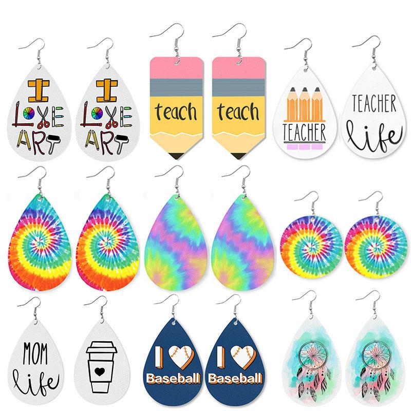Water-drop Earrings Hot Sale Leather Teacher Design Print Dangle Earring Fashion Sports Baseball Math Mama Bear Styles Pendant Earrings