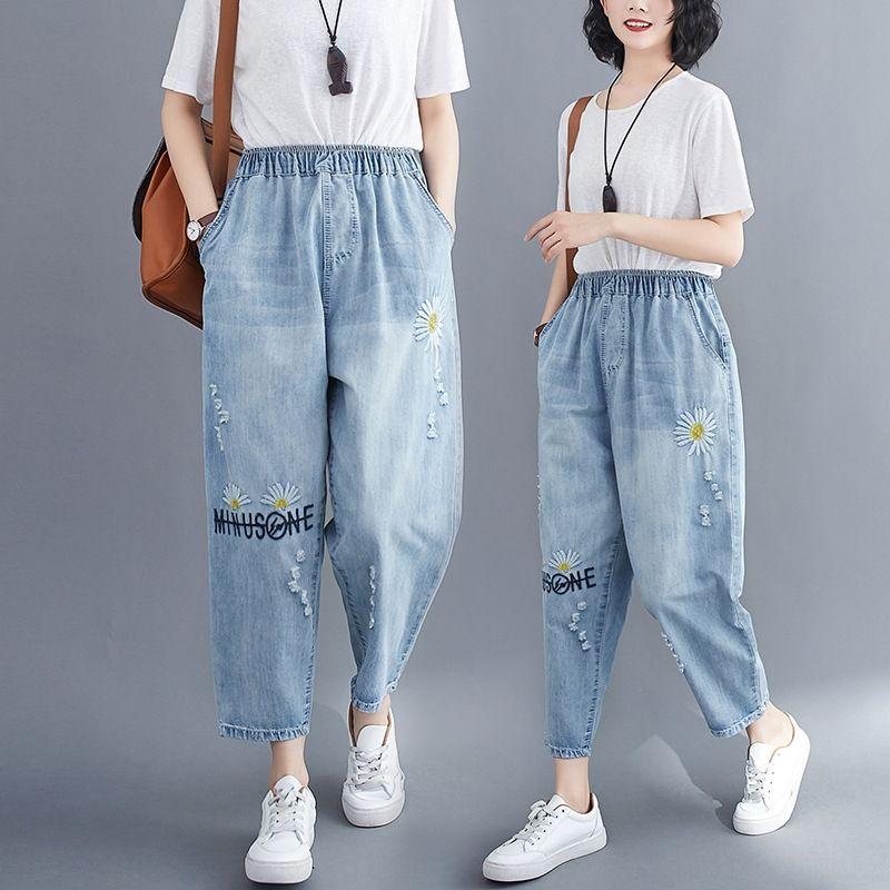 Summer de la nueva gran bordado y los pantalones de color claro de las mujeres el tamaño de lavado de cintura elástica bordada pantalones de mezclilla pantalones de la margarita mujeres recortadas