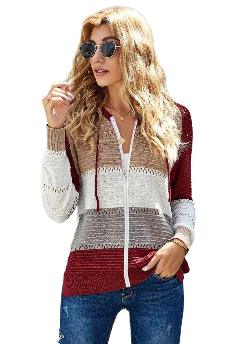 Fashion New Womens Sweaters Cardigan Long Sleeves Loose Stripe Ladies Wool Knitting Party Casual Zipper Hoodie Size S-2XL