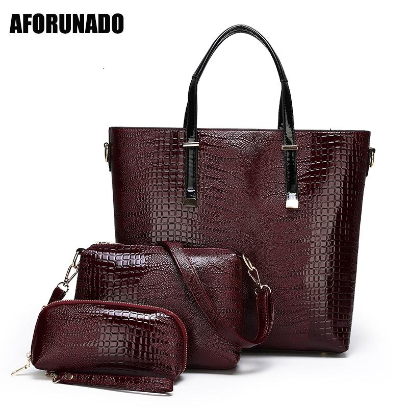 Luxury Handbags Bags Designer Ladies Oil Skin PU Leather Shoulder Crossbody Bag For Women 2020 Tote 3Set Top-Handle Bagoutlet