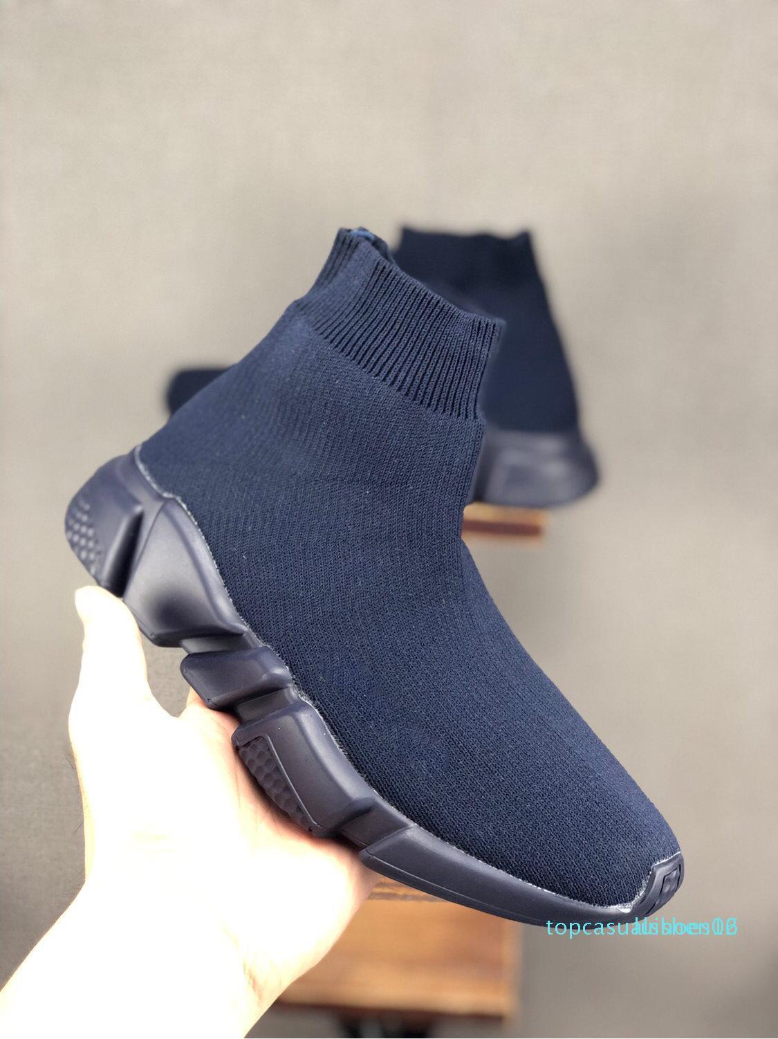 Diseñador de lujo de París calcetín del zapato de velocidad zapatillas de deporte entrenador Carrera Participantes hombre blancas Triple Negro Mujeres Calcetines arranque deportes ocasionales Tn zapatos 1 t16