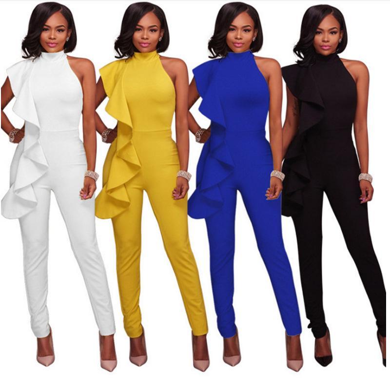 Şık Ruffles kadın jumpsuits 2020 yaz kolsuz siyah, mavi, beyaz, uzun kalem pantolon BODYCON tunik bandaj tulum tulum