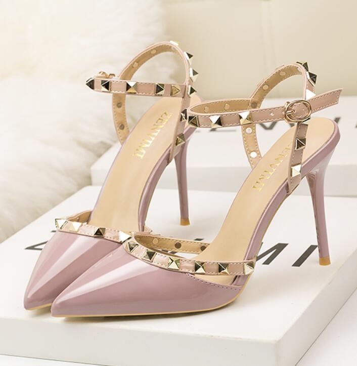 High heels women sexy rivet joker fine documentary fairy shoes baotou sandal shoes tangerine summer wind