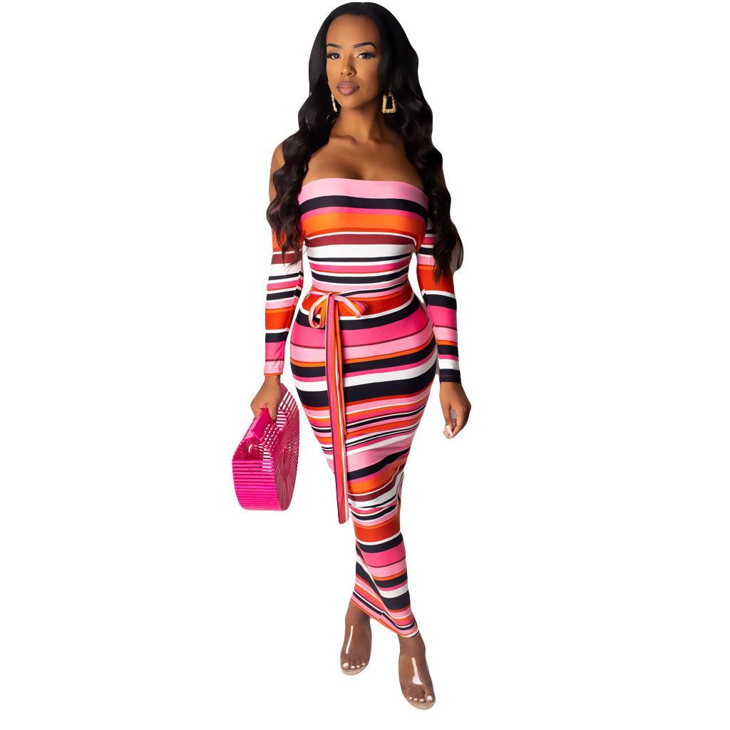 Diseñador rayado raya vertical de las mujeres vestidos de cuello de verano de manga larga altura del tobillo del vestido ocasional multicolor de Ropa