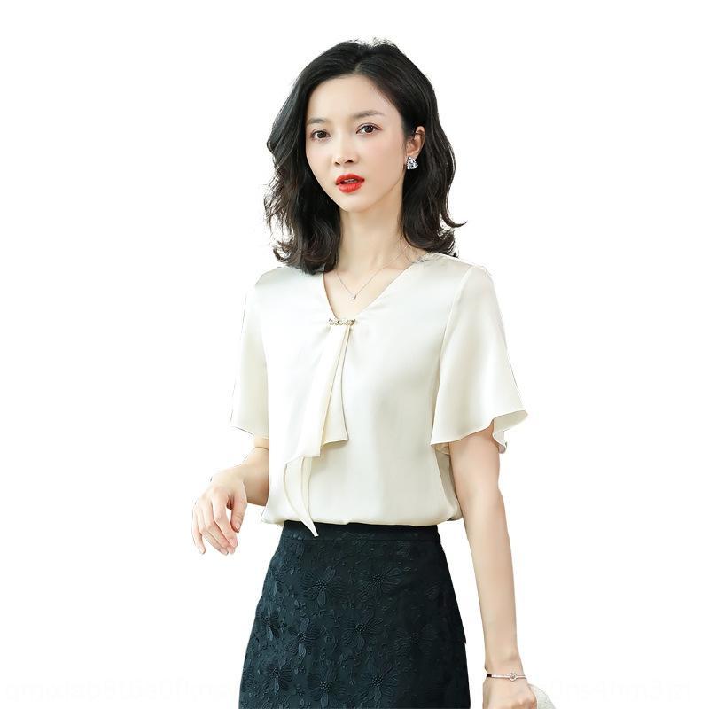 7zgng chemise à manches courtes design Sens de niche Mode Nouvelle lumière mature et chemise Silk Mulberry V-Col V 2020 Soie Top