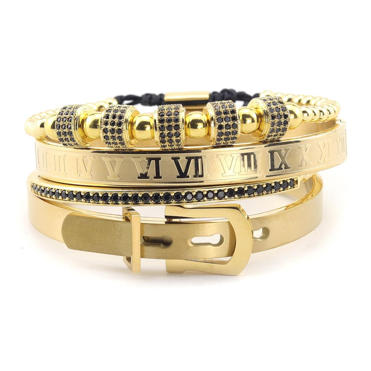 4pcs / Set perlas pulsera de lujo de la correa de la hebilla numeral brazalete del acero inoxidable de la CZ de la bola manillas brazaletes para Hombres Y200810 joyería
