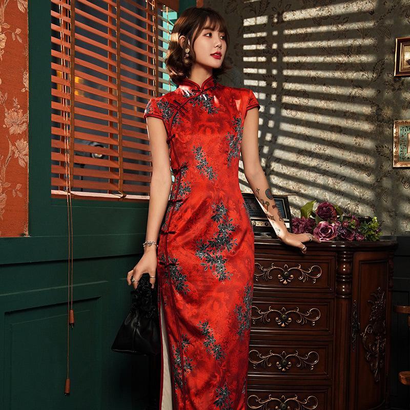 primavera estate Pulsante Handmade Qipao epoca Collare del mandarino qipao novità Slim migliorata Cheongsam Dress Size S-4XL