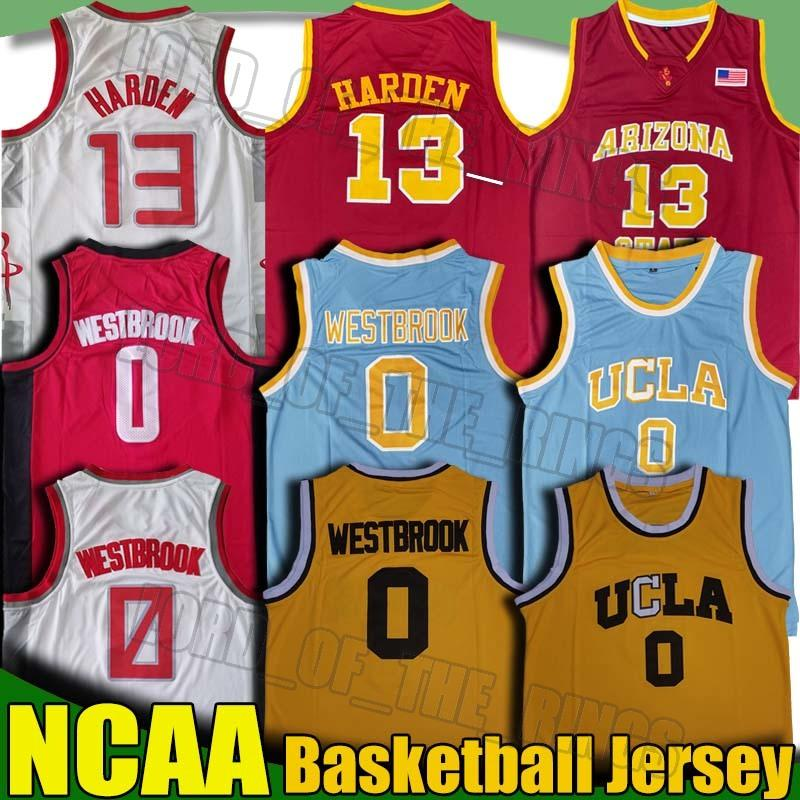 NCAA UCLA California Russell Jersey Westbrook Sun Devils James College Harden Basketball Jerseys Hakeem 8 Bryant Olajuwon Retro 8-30
