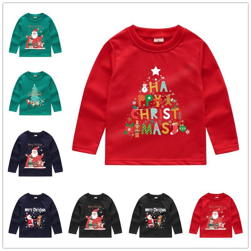 Bambini di Natale Felpe con cappuccio Bambini Ragazzi Ragazze Felpe Felpe Paillettes Manica lunga Maglione T-Shirt Crew Collo Pullover Tops Vestiti Outwear E92403