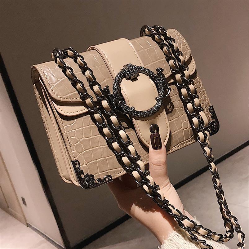 Handbag Moda 2020 Womens couro New qualidade PU Designer Handbag Crocodile padrão de Ombro Messenger Bag