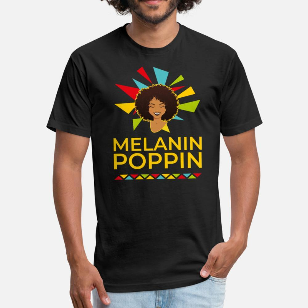 La melanina Poppin uomini della maglietta personalizzata manica corta formato più 3xl Immagini La luce del sole divertente casual camicia sottile Summer Style