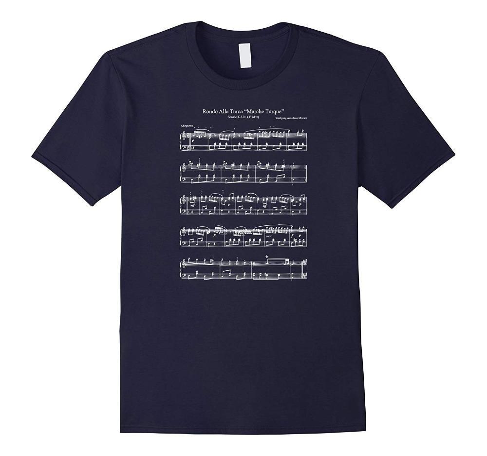 Mozart música Notas Pontuação Rondo Alla Turca Funny T Shirt2018 Novas algodão de 100% camisetas Homens T shirt Roupa Plus Size Tees